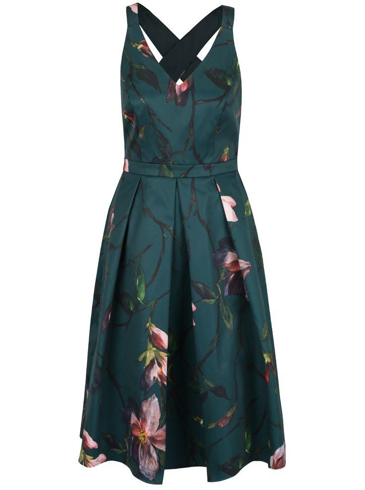 Tmavě zelené šaty bez rukávů s květy Dorothy Perkins