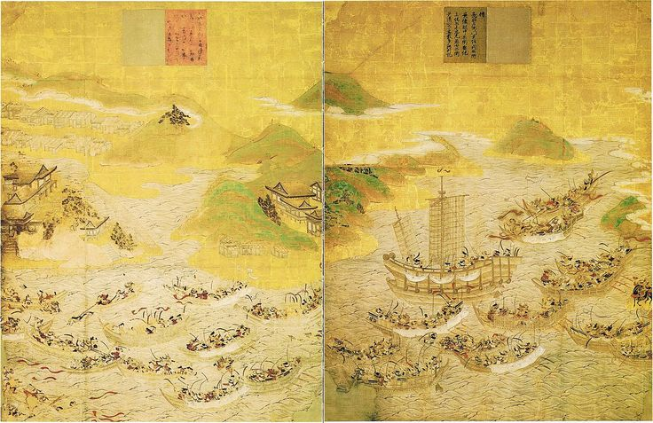 This painting depicts the decisive naval Battle of Dannoura of the Genpei War in 1185, which was fought between the fleets of the Taira (red; left) and Minamoto (white; right) clans. These battles consisted of long-range archery exchanges when enemy vessels were distant and hand-to-hand combat involving swords and daggers as opponents neared each other. The Minamoto clan, led by Minamoto no Yoshitsune, was able to defeat the Taira clan as the tides changed to turn in the Genji's favor. —J…