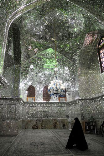 The Shah Cheragh (Persian for King of the Light) Mausoleum is a mirrored masterpiece in Shiraz - Iran
