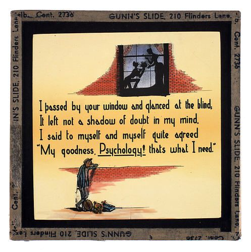 Lantern Slide - Universal Opportunity League, 'My Goodness, Psychology! That's What I Need', c. 1940s
