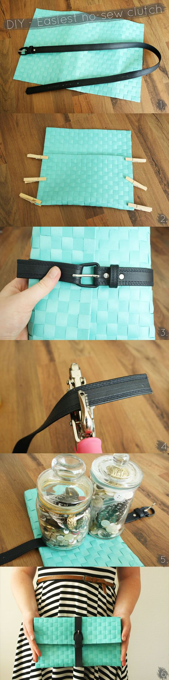 Create the easiest DIY no-sew clutch from a place mat and a thrifted belt: Idea, Easiest Diy, Diy'S, Diy Clutch, Clutches, Diy Craft, No Sew Clutch