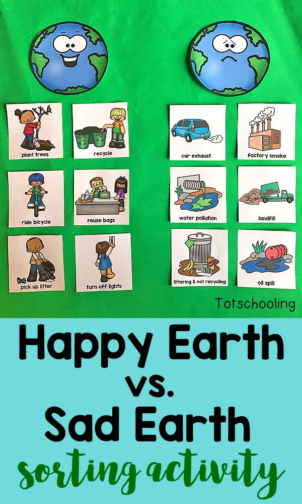 This FREE Earth Day sorting activity goes beyond just recycling, teaching kids about how to take care of our planet through conservation, cleaning, reusing and planting. It also introduces children to air, water and land pollution.