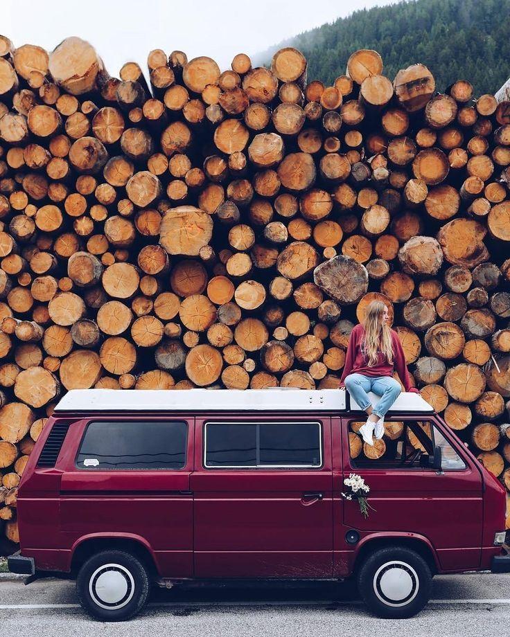 Road trip. Old VW Westfalia Van at a logging facility