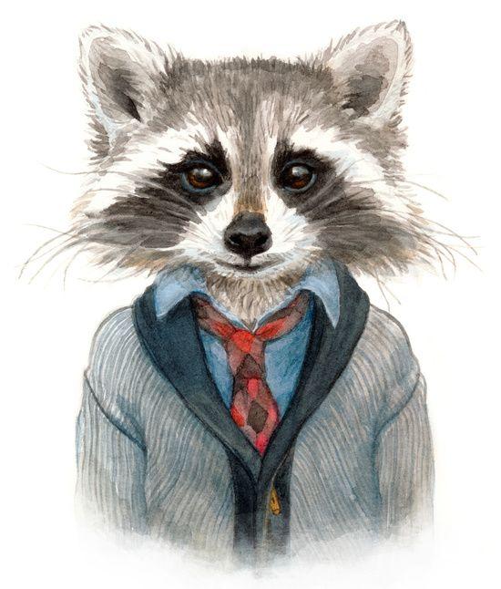 Raccoon Art Print by Leslie Evans