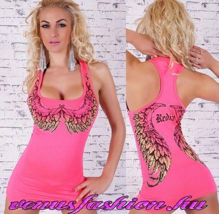 Angyal szárny mintás pink női top / trikó