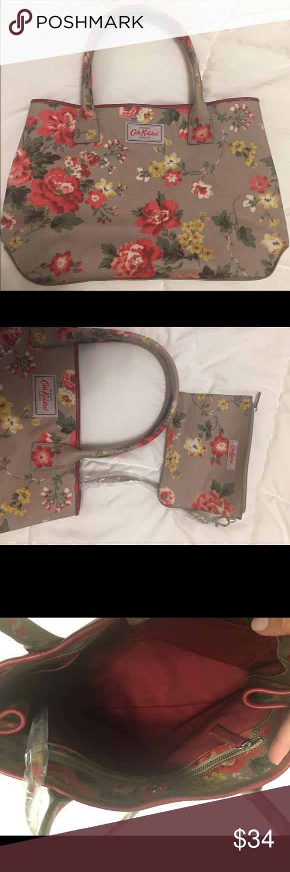 Cath Kidston Handbag, New Original Cath Kidston handbag, new. Color can look tan or grey, goes with lots of colors! Cute change purse attached with clip, one large inner pocket, two smaller inner pockets. No sales tag but still has plastic. Approx 15 inches wide, 10 inches tall (8.5x11 sheet of paper in photo for reference). Bags Shoulder Bags
