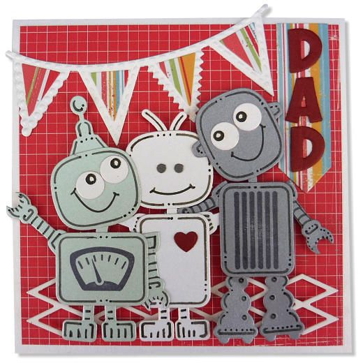 Made by Cuddly buddly. Die-cut, doodle and build paper robots to make fun toppers on birthday cards for boys and men.