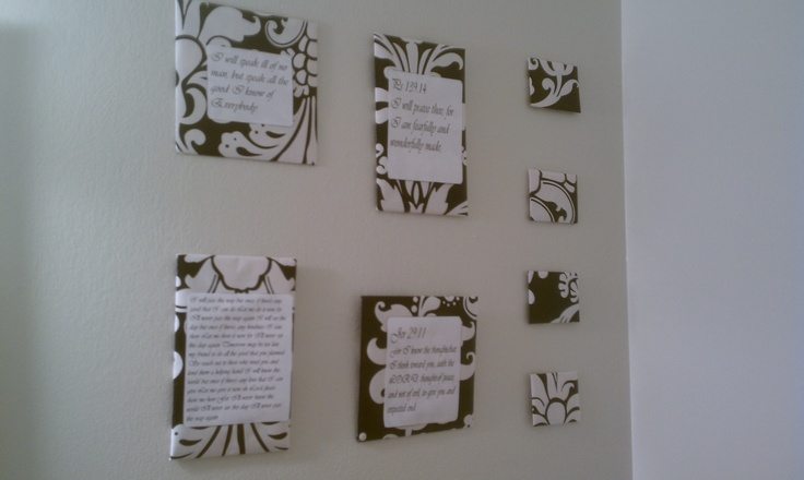 I made these decorations for the bathroom by using cereal boxes wrapped in pretty wrapping paper and printed off inspiring quotes to place on them! Easy and beautiful.