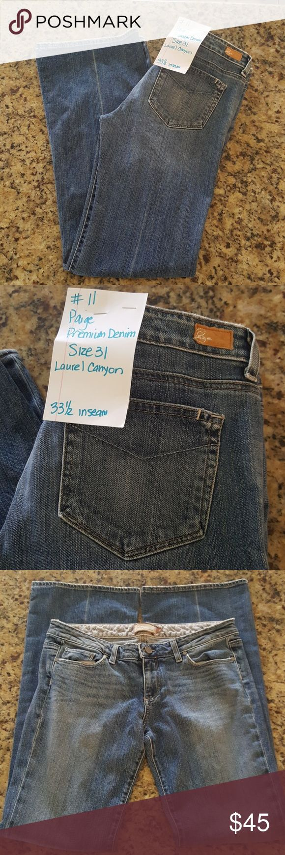 Paige premium denim jeans Paige premium denim laurel canyon jeans.  Size 31 with 33 1/2 inch inseam. Made in USA. Open to all offers.  Love to bundle!! Paige Jeans Jeans