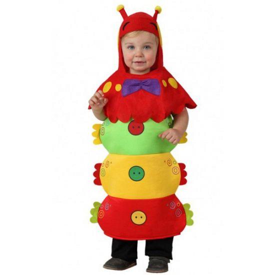 Rups kostuum voor kinderen. Rupsen pakje in felle kleuren met een apart hoofdstuk met voelsprieten. Het kostuum past peuters van 12 tot 24 maanden en is gemaakt van 100% polyester.