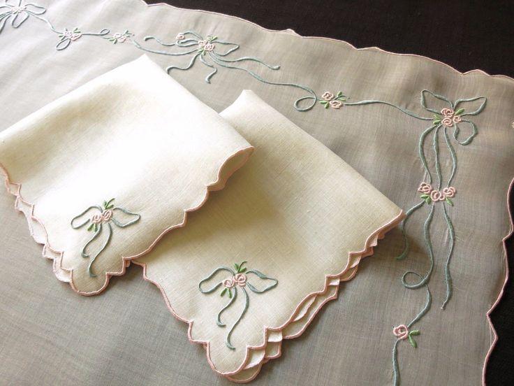 Queen Victoria Vtg Marghab Madeira Embroidery Linen Margandie 3 PC Breakfast Set | eBay