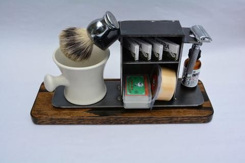 """Shaving Stand for Razor, Brush, Cup, and Accessories, 3"""" base.  Natural Finish."""