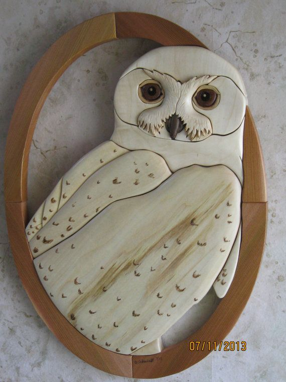 WHITE SNOWY OWL Intarsia wood carving, wall decor gift, Unique Birthday Present…