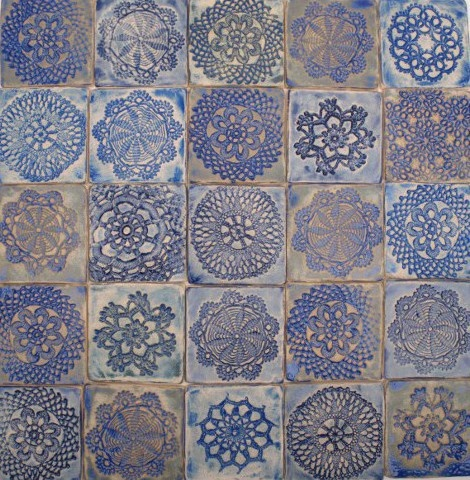 handmade tiles, ceramiczne kafle , kafle koronkowe