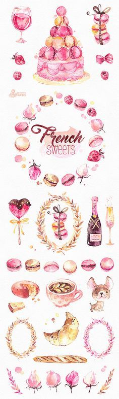 This is an french collection of sweets includes 40 handpainted watercolor images. Perfect graphic for diy projects, brand identity, invitations, cards, logos, photos, posters, wallarts, quotes, diy and more. ----------------------------------------------------------------- INSTANT DOWNLOAD Once payment is cleared, you can download your files directly from your Etsy account. ----------------------------------------------------------------- This listing includes: 40 x Different Graphic Ele...