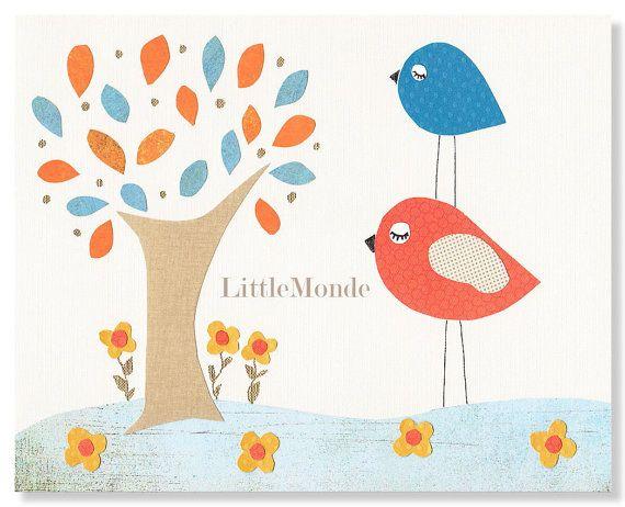 Orange Nursery Illustrations by LittleMonde, $16.00