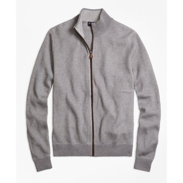 Brooks Brothers Supima® Cotton Cashmere Ribbed Full-Zip Cardigan (260 CAD) ❤ liked on Polyvore featuring men's fashion, men's clothing, men's sweaters, grey, mens zipper sweater, mens gray sweater, american eagle mens sweaters, mens zip cardigan sweater and mens cardigan sweaters