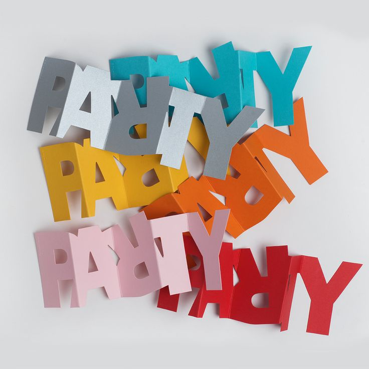 Swedish designed gift tag and greeting combined in concertina card spelling the word 'Party'.  Its party trick?  It stands up too!  Left blank for personal message. Semi-transparent envelope or string included. Choose from different colours.