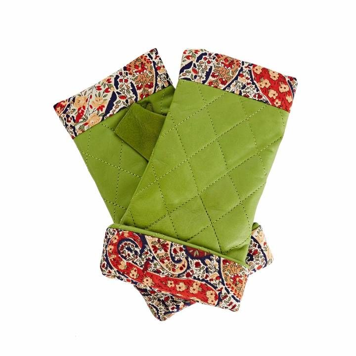 Gizelle Renee - Page Grass Green Leather Gloves With BF Liberty Tana Lawn