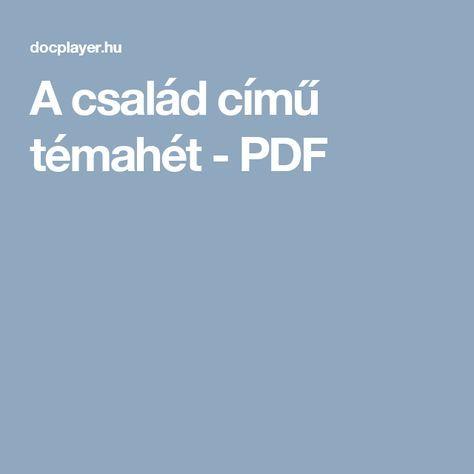 A család című témahét - PDF