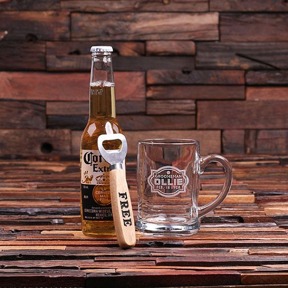14 oz. Pint Beer Mug Glass with FREE Wood Bottle by TealsPrairie