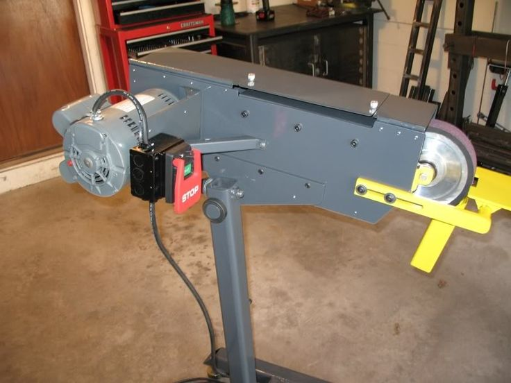 """Belt Grinder by sf93 -- Homemade pivot-mounted belt grinder on stand. Utilizes 2""""x72"""" belts and is powered by a 1 1/2 HP, 1740 RPM motor. http://www.homemadetools.net/homemade-belt-grinder"""