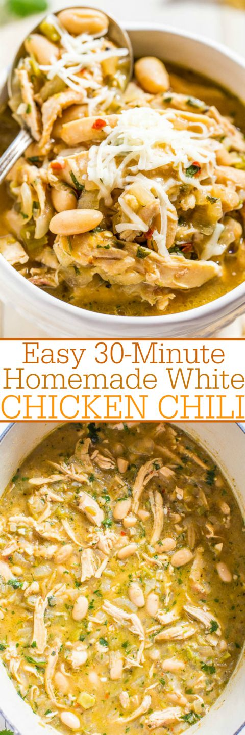 Easy 30-Minute Homemade White Chicken Chili - Hearty, healthy, loaded with tender chicken, and packed with bold flavor!! Fast and easy comfort food that everyone loves!! It'll be on rotation all winter! Perfect starter to your holiday meal!