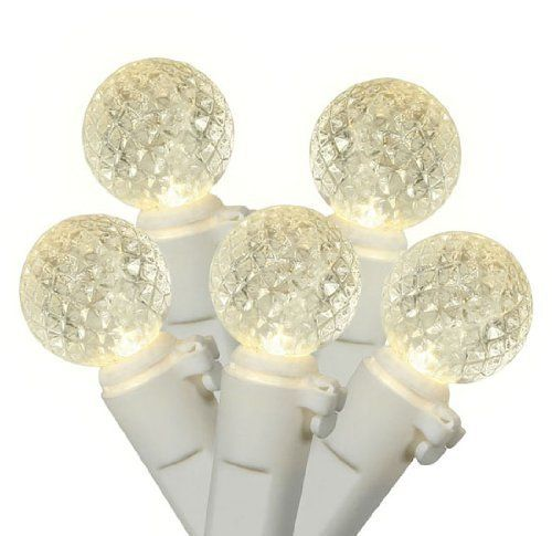 """Set of 50 Warm Clear LED G12 Berry Fashion Glow Christmas Lights - White Wire by VCO. Save 8 Off!. $22.99. Set of 50 Christmas Lights Item #X4W0501Features:Color: warm clear bulbs / white wire """"Warm clear"""" also known as """"warm white"""" has a nice natural warm incandescent like glow Number of bulbs on string: 50 Bulb size: G12 (15mm diameter, berry lights)Spacing between each bulb: 4 inches Lighted string length (approx): 16.25 feet Total string length (approx): 16.5 feetWire gauge: 22Addi..."""