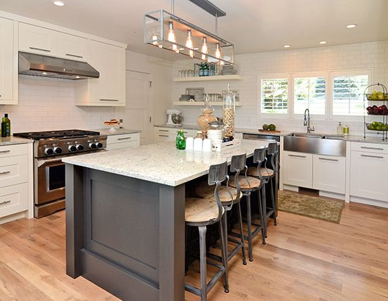 Charcoal gray & white kitchen, industrial barstools, stainless farmhouse sink