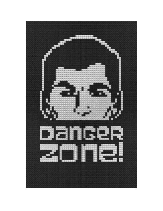 Danger Zone Archer cross stitch pattern .pdf instant download @lalanumbers
