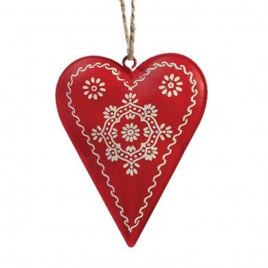 Scandinavian Christmas Folkart Heart Decoration