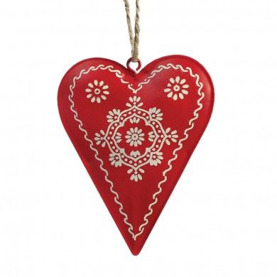 Scandinavian Christmas Folkart Heart Decoration