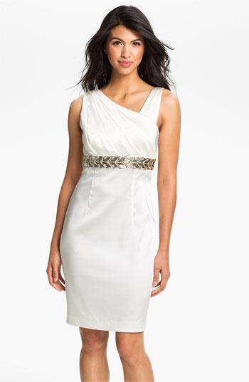Calvin Klein Beaded Waist Satin Sheath Dress | Nordstrom