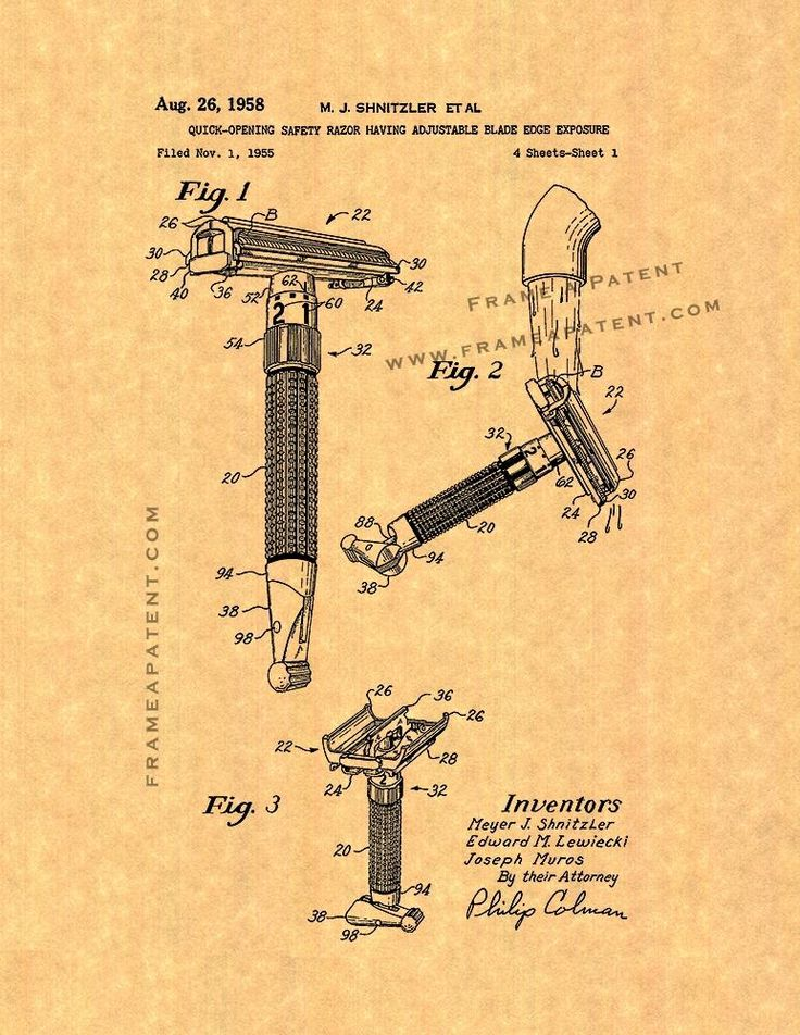 "Quick-opening Safety Razor Having Adjustable Blade Edge Exposure Patent Print - Ancient Gold Parchment 5"" x 7"" for $7.95"