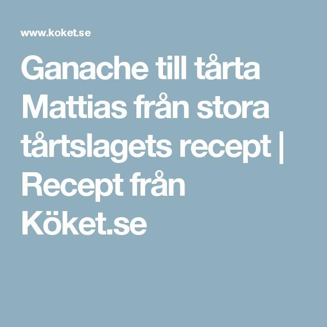 Ganache till tårta Mattias från stora tårtslagets recept | Recept från Köket.se