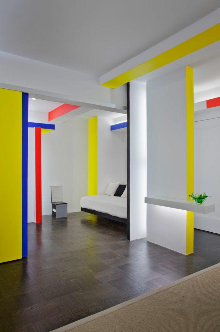 Farbgestaltung Wohnzimmer Wandgestaltung Wanddesign Akzent