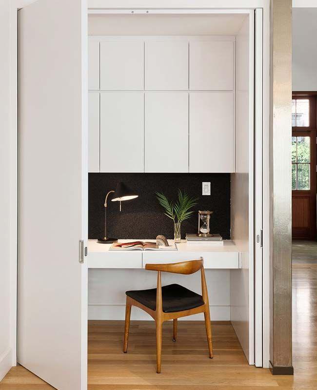Wie Integriere Ich Ein Buro In Einen Schrank In 2020 Einbaumobel Buroecke Haus Interieurs