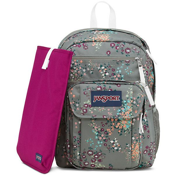 JanSport Digital Student Shady Grey Sprinkled Floral ($55) ❤ liked on Polyvore featuring bags, grey bag, jansport bags, jansport, gray bag and floral print bag
