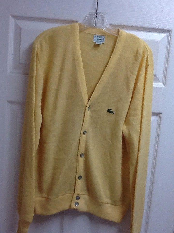 5472c68531b58 Mens IZOD LACOSTE Yellow Button Up Cardigan Sweater Sz M Medium Made In USA   fashion