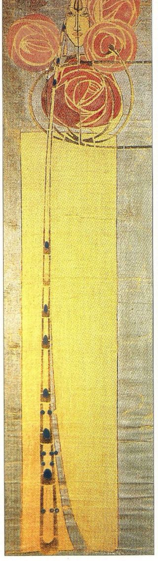 Wall Hanging from The Willow Tea Rooms, Glasgow, by Charles Rennie Mackintosh, ca.1904. Linen stencilled in black, pink, blue and grey, with silver paint applied on a yellow ground