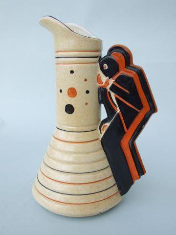 Art Deco Age of Jazz Jug   A lovely English stylised saxophone player jug