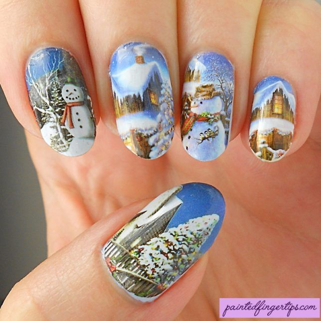 Snowman Water Decals - Born Pretty Store Review - Painted Fingertips