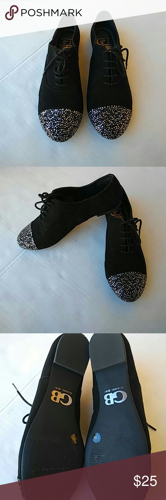 Gianni Bini Black shoes Gently used in great condition black suede sparkly front Gianni Bini Black shoes (: Gianni Bini Shoes
