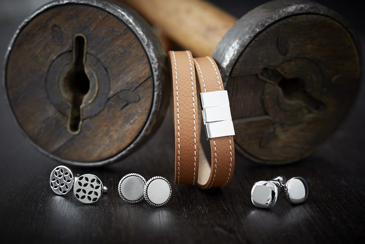 Silver Cufflinks & leather wrap around bracelet  http://www.janlogan.com/shop/mens