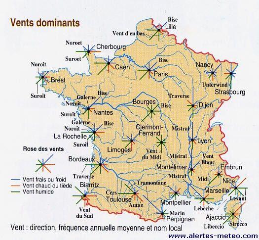 Les vents dominants sur la France par an et le nom des vents suivant les différentes régions