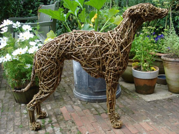 Willow Garden Or Yard sculpture by artist Emma Walker titled: 'Lurcher (Dog Hound Willow Standing life size Sculptures)'