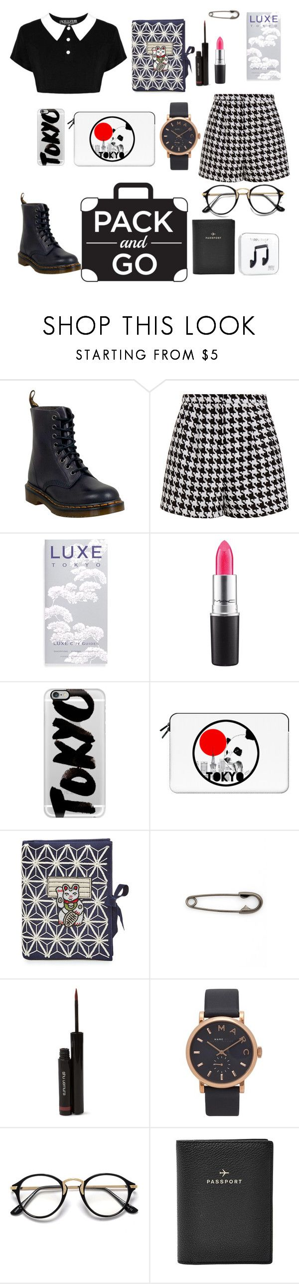 """""""Pack And Go"""" by liarna-roccella ❤ liked on Polyvore featuring Dr. Martens, Emma Cook, Luxe City Guides, MAC Cosmetics, Casetify, Olympia Le-Tan, Julien David, shu uemura, Marc Jacobs and FOSSIL"""