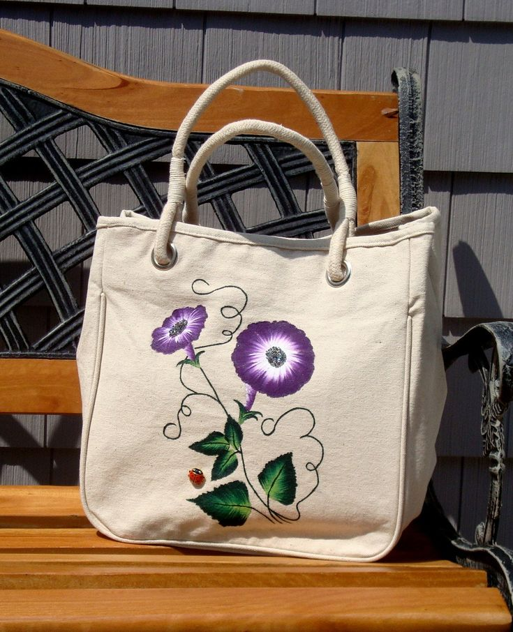 Tote Bag With Hand Painted Purple Flowers and Hand Sewn Beads and Ladybug Charm, Beach Bag, Mothers Day Gift, Gifts For Her, Beaded Bag