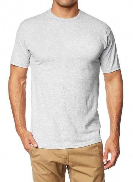 f15e7a4955cb62 Crew Basic Muscle Fitted Plain T-Shirt - Light Grey - Muscle Fit Basics -