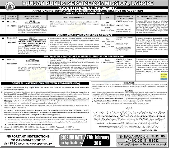 2100 Posts of Charge Nurses (BS-16) through PPSC   2100 Posts of Charge Nurses (BS-16) through Punjab Public Service Commission (PPSC) for females only. Eligibility: Bachelors (BSc in Nursing Generic (Four Years) OR Diploma in Nursing Registration from Pakistan Nursing Council Last date: 27th February 2017